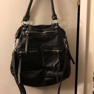 Large faux leather hobo handbag